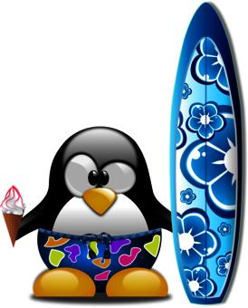 summer tshirt custom penguin surfboard
